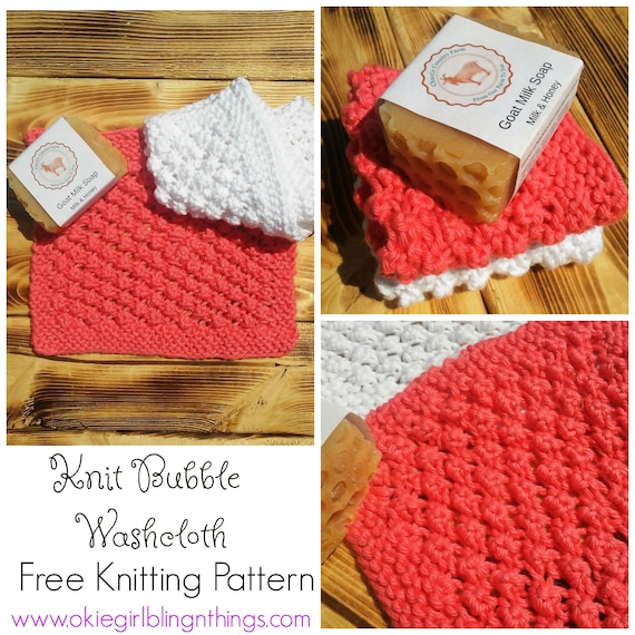 Bubble Washcloth Knit Pattern Free Knitting Pattern Pdf Knit Etsy