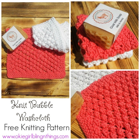 Bubble Washcloth Knit Pattern Free Knitting Pattern Pdf Knit Etsy