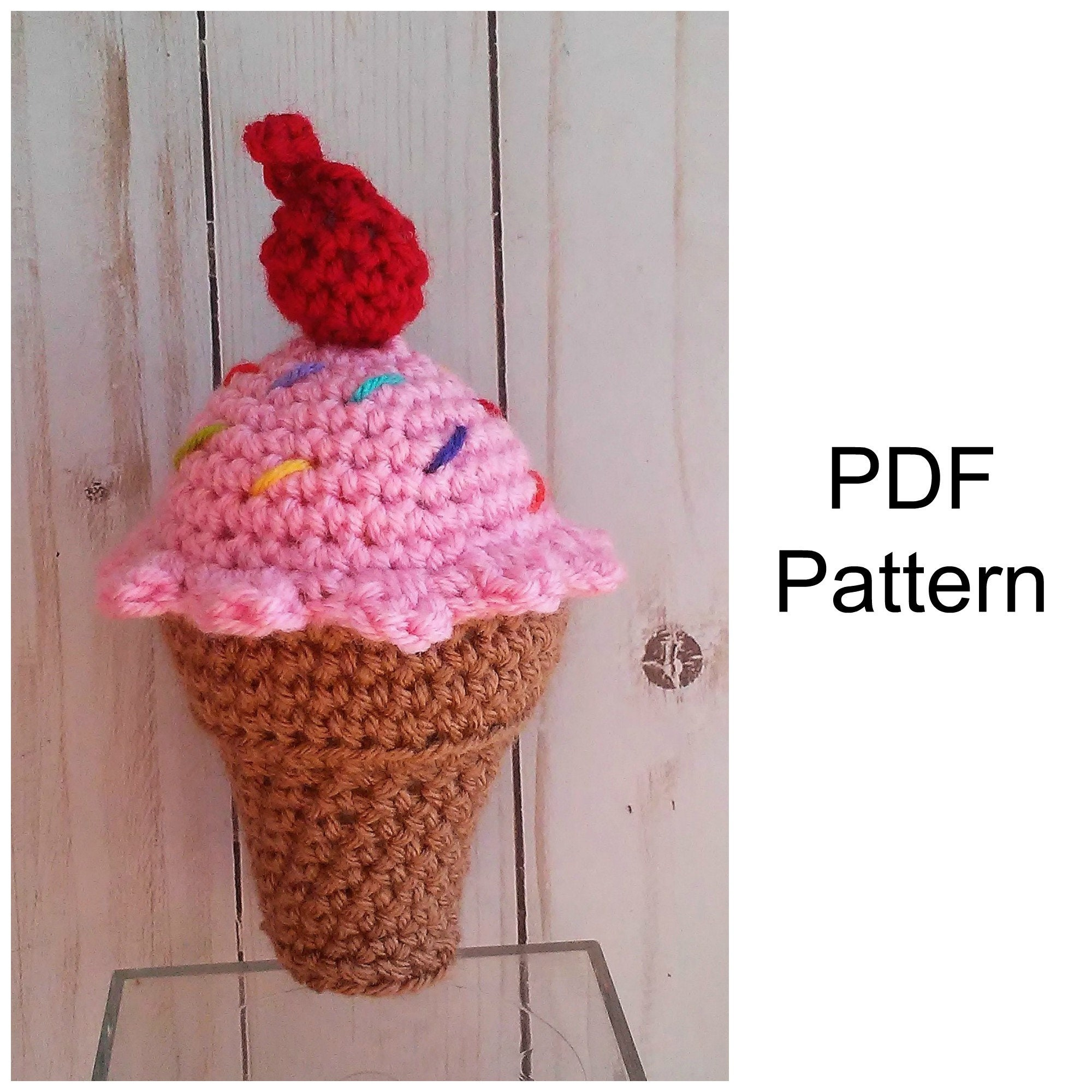 Ice Cream Cone Crochet Pattern, Crochet PDF Pattern, Amigurumi Pattern,  Downloadable PDF Pattern,Free Crochet Pattern, Amigurumi Crochet