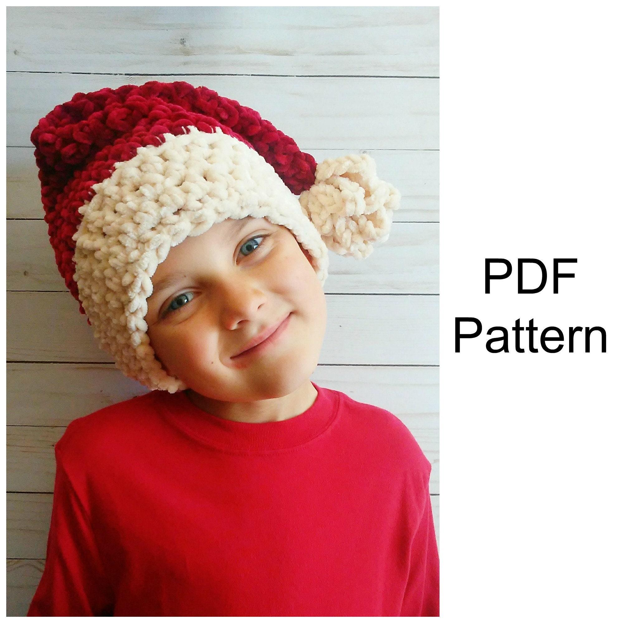 Santa Hat Crochet Pattern Velvet Yarn Crochet Pattern Etsy