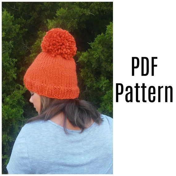 Simple Chunky Knit Hat Pattern Free Knitting Pattern Pdf Etsy