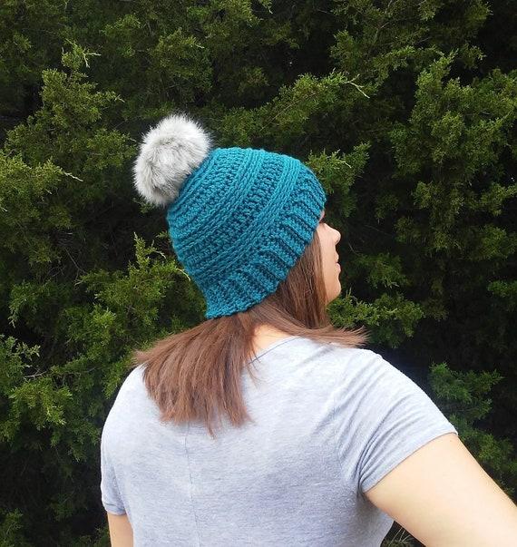 Womens Teal Pom Pom Hat Pom Pom Beanie Teal Toque Teal Blue  567859526c5