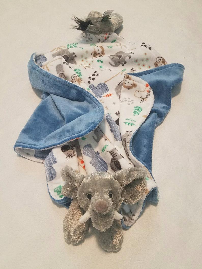 Elephant minky baby blanket animal blanket snuggle blanket lovey 24x24 jungle animal print bluebell solid