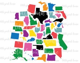 50 States Svg, United States Svg, USA Svg, States Cutting Files, States Outline Svg, State Cut Files, State SVG, digital cut file, svg, dxf