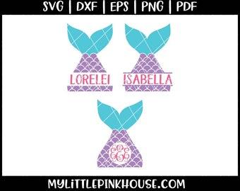 Mermaid SVG, Mermaid Tail, svg files, svg bundle, svg monogram, silhouette portrait, silhouette designs, silhouette files, cricut designs