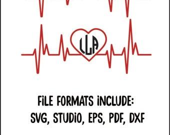 Heartbeat Monogram Design Cut File   SVG, EPS, DXF pdf, diy, medical, stethoscope, healthcare, ekg, nurse, doctor, pharmacy, pharmacist