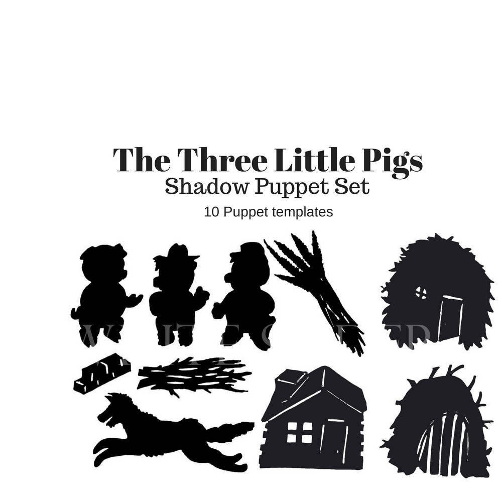 Instant Download The Three Little Pigs digital shadow puppet | Etsy