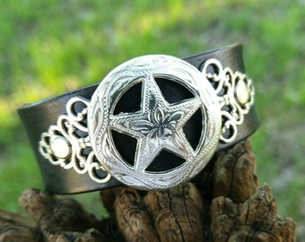 Beautiful Country Star Concho Leather Cuff Bracelet