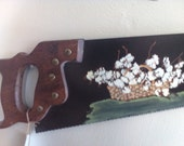 Hand Painted Vintage Saw, Wall Hanging, Cotton Field, Farmhouse,