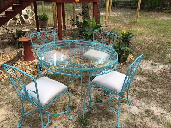 Outdoor Table Top Fan : Wrought iron table and chairs outdoor patio set glass top
