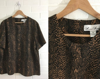 76f82c8b15e1e Vintage Animal Print Top 90s Black Brown 1990s Summer Short Sleeve Boxy Ashley  Stewart Women s Size 18 XL Plus Volup