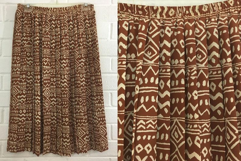 a7bfb4025ab9 Vintage Leslie Fay Skirt 90s Skirt Brown Beige Tribal Chevron | Etsy