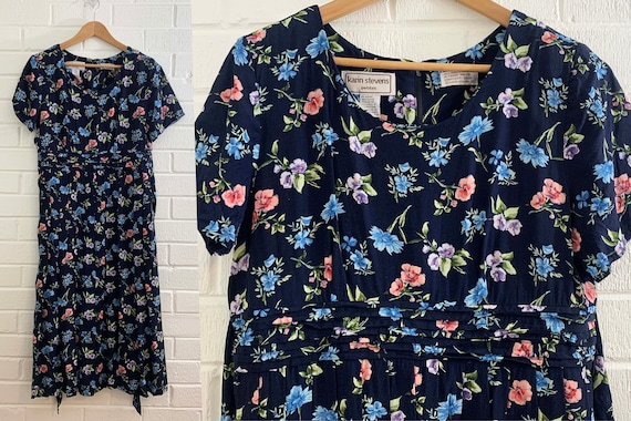 Vintage Navy Floral Tie Waist Dress 80s Fit & Flar