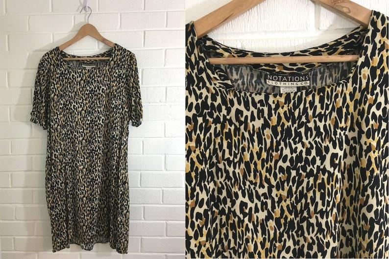 a583d3862443 Vintage Animal Print Dress Leopard White Brown Tan Black Midi | Etsy