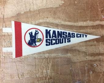 db6956996 Vintage Kansas City Scouts NHL hockey MINI Pennant Flag Banner 4x9.5 inches