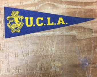 1950s Vintage You See UCLA Bruins California College University Mini Pennant Flag Banner