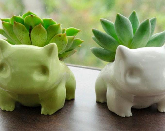 Ceramic Bulbasaur Planter / Flower Pot - 2 sizes available