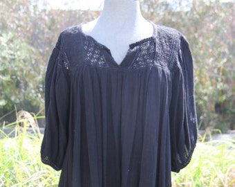 vintage cotton mexican gauze black shirt or dress with crochet and embroidery free size