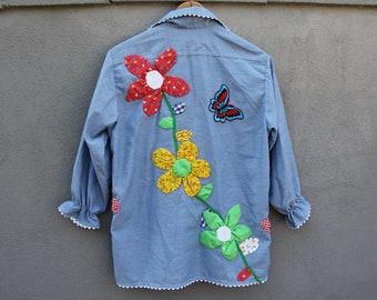 7af8e5003283da vintage 70s big mac for jcpenney chambray button up flower pot patchwork  blouse