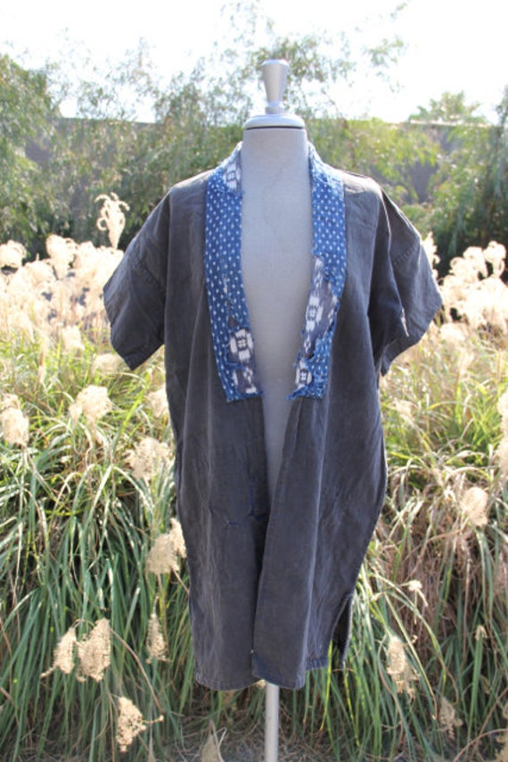 vintage antique black canvas and indigo kimono wra