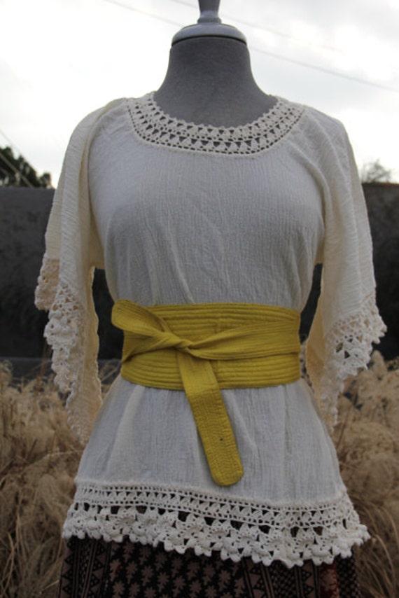 vintage crochet cotton gauze cream top with angel