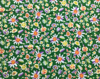 Vintage Fabric, 1960s, Green Background Floral