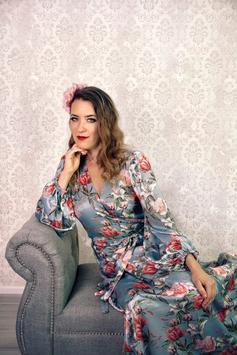 Floral dressing gown Angelina light blue