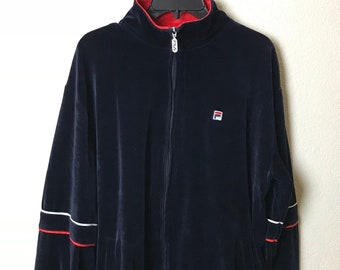 22964230f33f Vintage Fila Velour Track Jacket Navy Blue Red Size Large 80' 90's