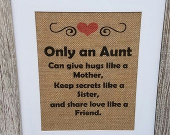 Aunt gift,Aunt sign,Only an aunt,Christmas,Aunt poem,Mother's day,Burlap,Rustic,Birthday,Favorite aunt,Family,Hugs like a mom,Auntie,Poem