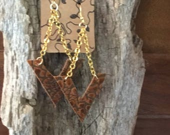 Leather v drop earrings stamped crocodile gold plated wires