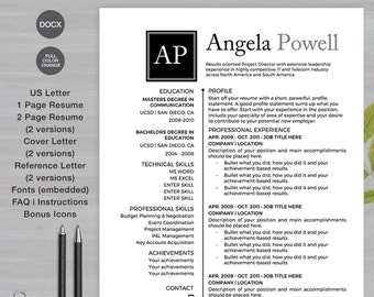 Awesome Resume Template For MS Word | 7 Pack: 1 Page, 2 Page Resume, Cover Letter ,  Reference Letter | The Angela Square Monogram | Instant Download