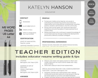 teacher resume template for ms word 1 2 page resume cover letter reference letter educator resume writing guide instant download - Resume Writing Guide
