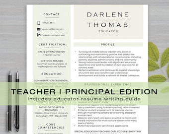 Istant Principal Cover Letter | Principal Resume Etsy