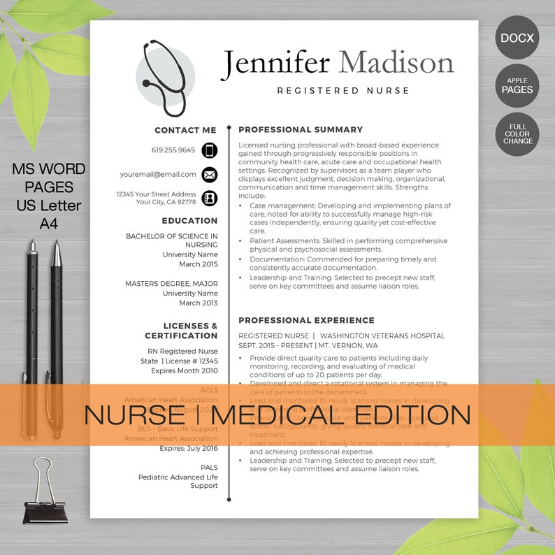 Nurse Resume Template For MS Word and Apple Pages   Medical Resume, Doctor  Resume, RN Resume, Nurse CV   Instant Download