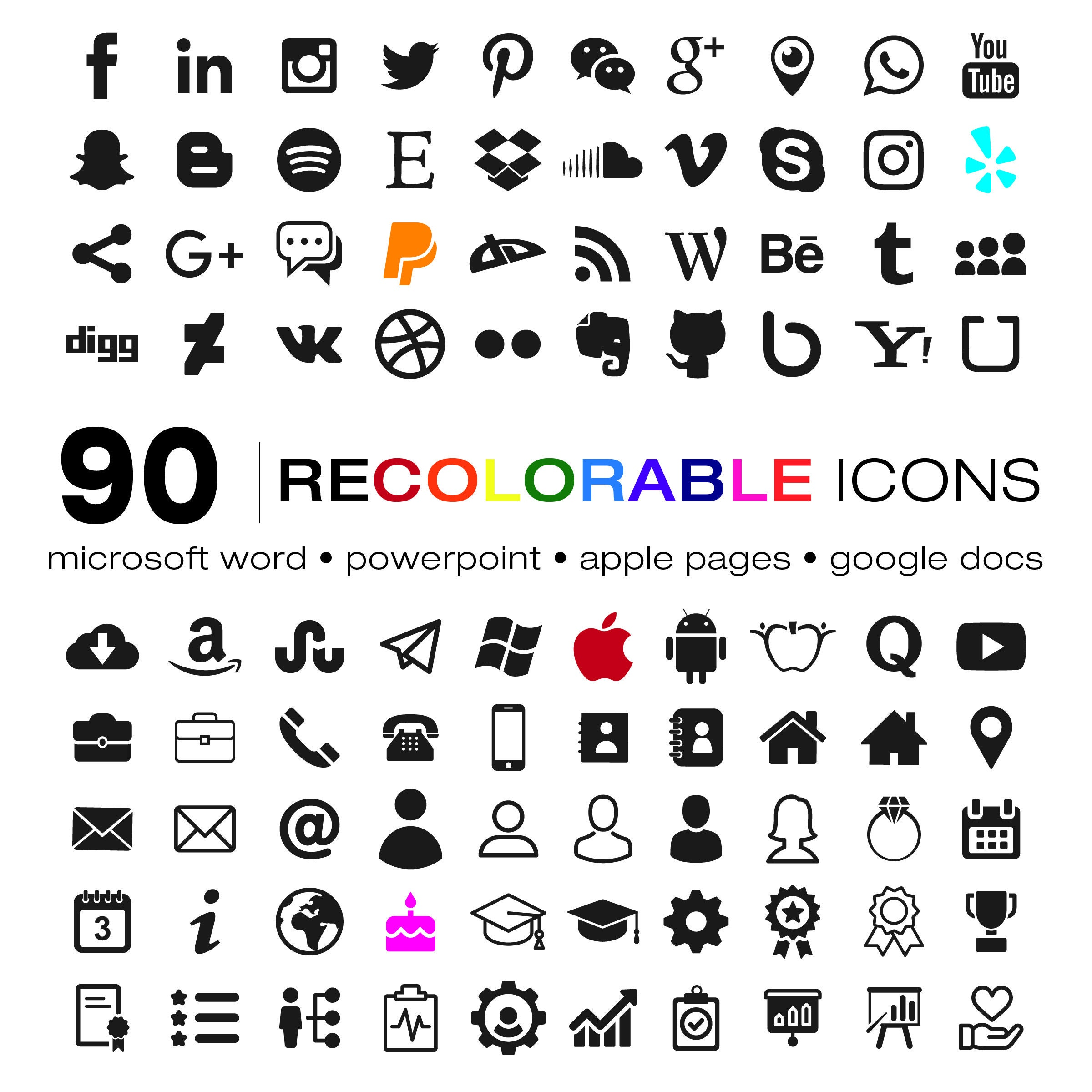 curriculum vitae icons set recolorable ic u00f4nes pour