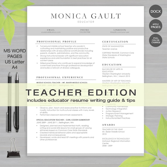 Teacher Resume Template For Ms Word And Pages Letter And A4 1 2 3 Page Resume Educator Resume Writing Guide Instant Download