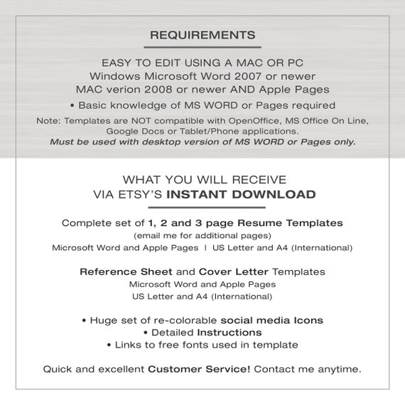 Resume Template For Word And Pages 1 2 And 3 Page Resume Cv Template Modern Resume The Katelyn Instant Download