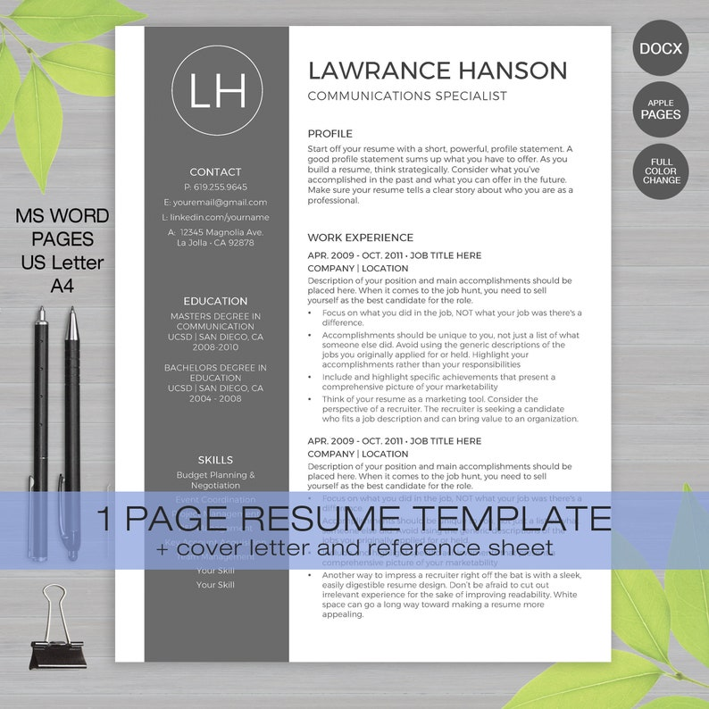 Resume Template For MS Word And Pages 1 Page