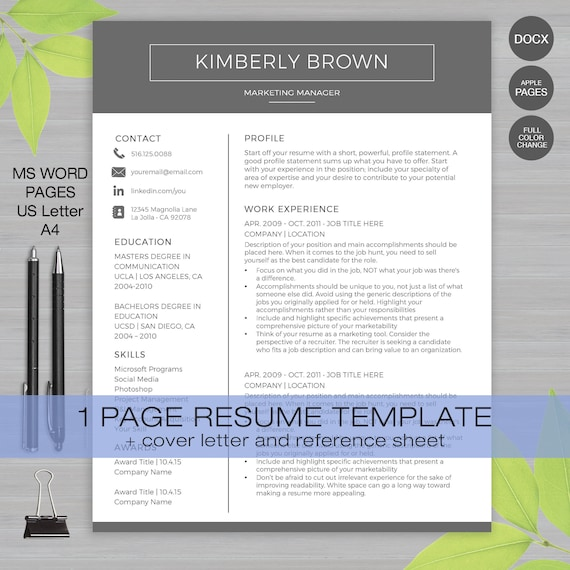 graphic about Reference Sheets for Resume titled Resume Template for MS Phrase and Internet pages 1 Web site Resume Template + Include Letter and Reference Sheet US Ltr and A4 Quick Obtain