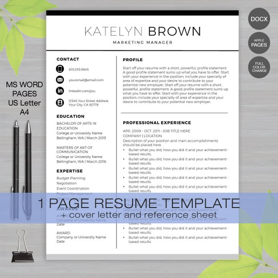 Reference Sheet For Resume Template from i.etsystatic.com