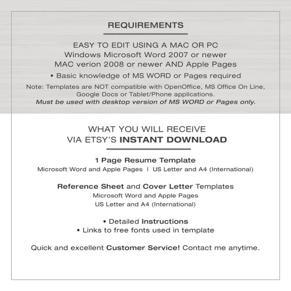 Resume Template for MS Word and Pages | 1 Page Resume Template + Cover  Letter and Reference Sheet | US Ltr and A4 Instant Download