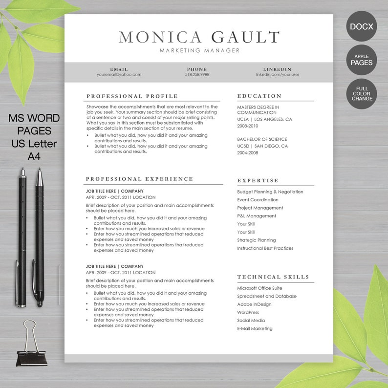 Resume Template For MS Word And Pages