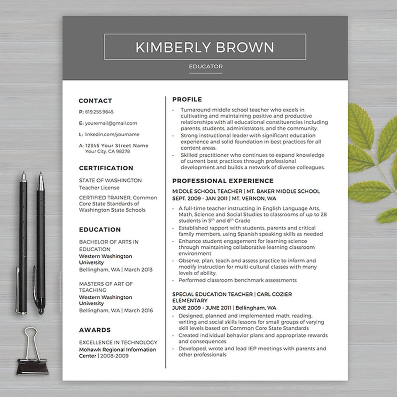 TEACHER RESUME Template For MS Word 1 & 2 Page Resume | Etsy