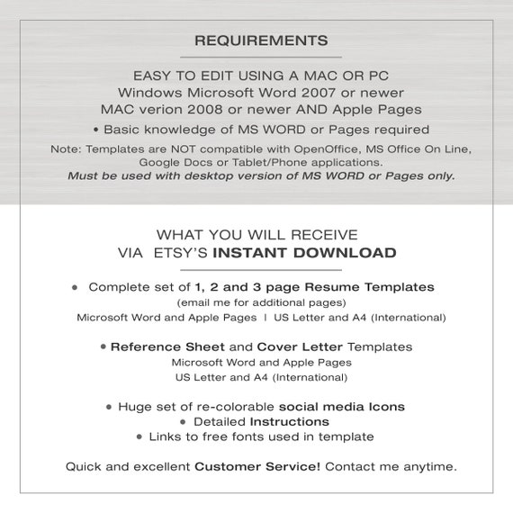 Resume Template For Word And Pages 1 2 And 3 Page Resume Cv Template Modern Resume The Isabells Instant Download