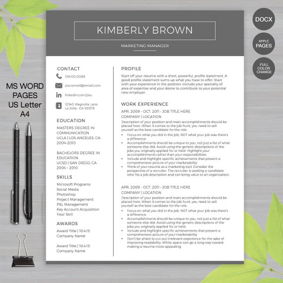 Resume Template for MS Word and Pages | 1, 2 & 3 Page Resume, Cover Letter  and Reference Sheet • US Letter and A4 | Instant Download