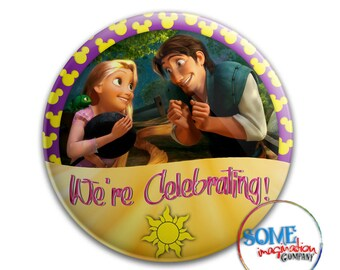 Rapunzel & Flynn Celebration Button