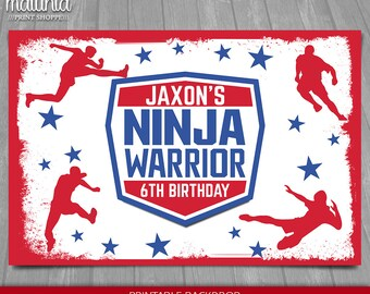 a05fa044466d0d ANW Ninja Warrior Backdrop - American Ninja Warrior Digital or Printed  Banner - PERSONALIZED - Ninja Birthday Decoration Sign Party Poster