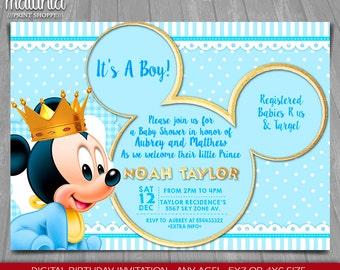 Prince Mickey Mouse Invitations Etsy