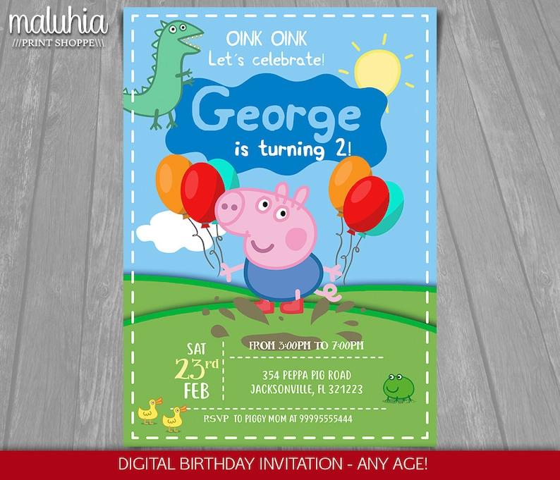 Peppa Pig Invitation George Pig Invite Peppa Pig George Pig Printed Or Printable Invitation Peppa Pig Boy Party Pgin02