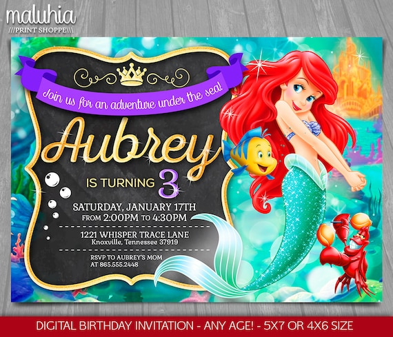 Little Mermaid Invitation Disney Ariel Invite